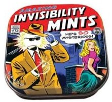 Invisibility mints for sale in a comic book tin