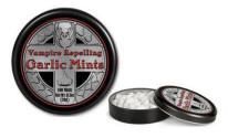 Vampire repelling garlic mints in a cool tin